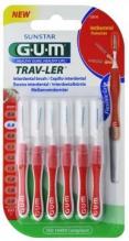GUM® Trav-Ler® hambavaheharjad, silinder, 6tk komplektis 0,8mm punane